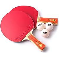 Atemi Set De Tenis De Mesa (2 X Raquetas, 3 X Pelotas) Serie Glory – 2 Palas Y 3 Pelotas De Ping Pong Homologadas por ITTF – Regalo Ideal para Principiantes Y Jugadores De Nivel Avanzado