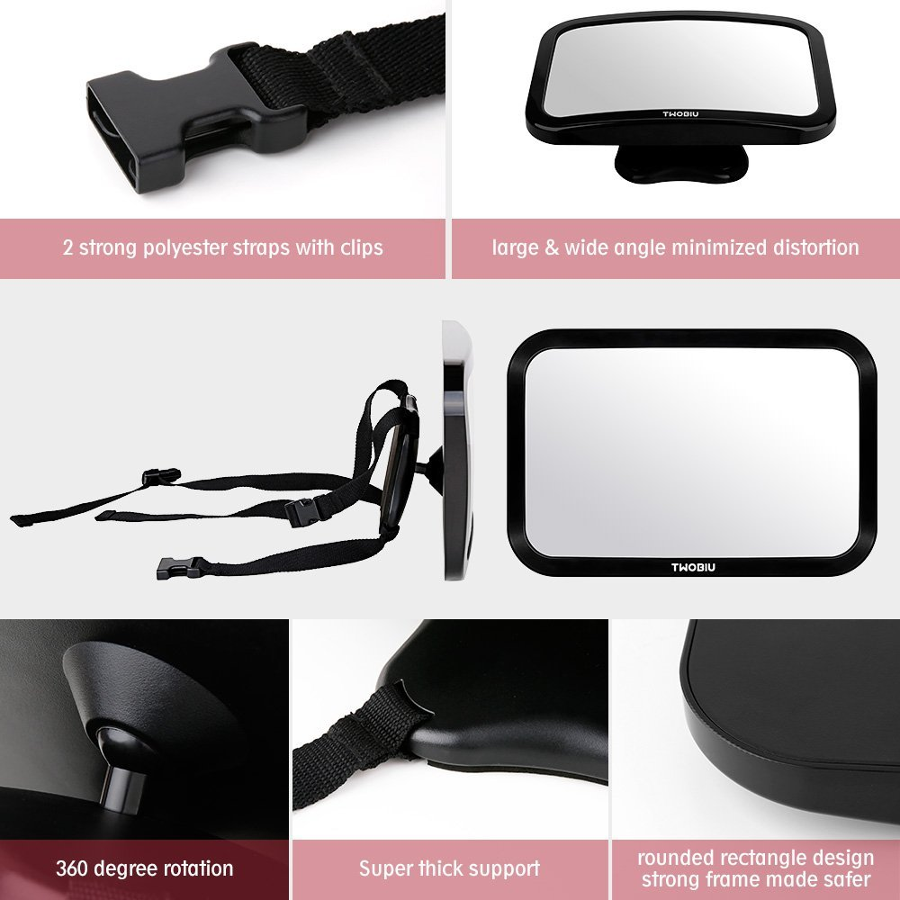 Twobiu Baby Car Mirror For Rear View Car Seat With Crash Tested And