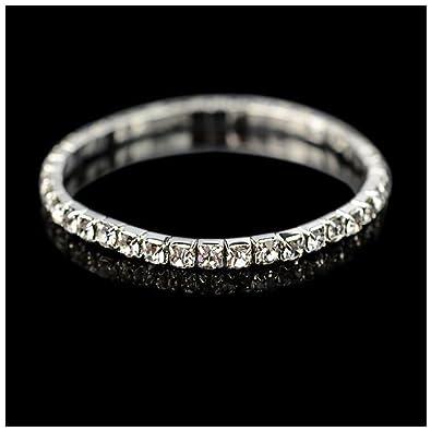 MIXIA Luxury Multilayer Shining Crystal Stretch Wide Bracelets for Women  Elastic Force Tennis Bracelet (1 38f7d45e9502