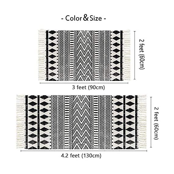 "HEBE Cotton Area Rug Set 2 Piece 2'x3'+2'x4.2' Machine Washable Black and Cream White Hand Woven Cotton Rug with Tassels Cotton Area Rug Runner for Living Room, Kitchen Floor, Laundry Room - Cotton Rugs Size: Hand Woven cotton tassel rugs set 2 pieces, small cotton accent rug measures 2'x3'(60*90cm) and long cotton runner rug measures 2'x4'3""(60x130cm). Durable Cotton Rugs: Our cotton rug well made by 100% Natural Cotton material.Great water absorption,protect your floors from moisture, stains and scratches,give soft and breathable touch when people walk on them. Classic Design: Cotton rugs designed with geometric patterns and extra snazzy knotted fringe tassels on each side which make them seem simple. Black and cream white color that will make it never go out of style and long time stay on the floor and also match all themed room decor. - runner-rugs, entryway-furniture-decor, entryway-laundry-room - 61A8N3KVIlL. SS570  -"
