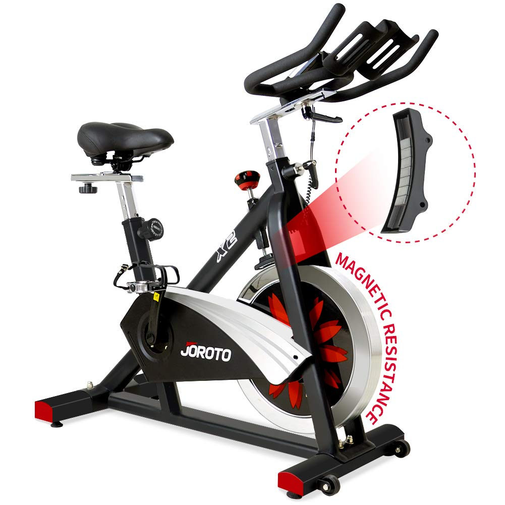 JOROTO Belt Drive Indoor Cycling Bike with Magnetic Resistance Exercise Bikes Stationary ( 300 Lbs Weight Capacity…