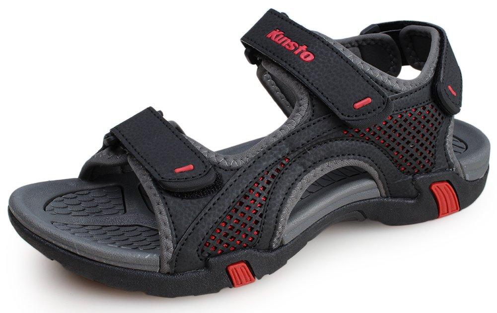 Kunsto Men's Synthetic Leather Open-Toe Sandal US Size 10 Black by Kunsto