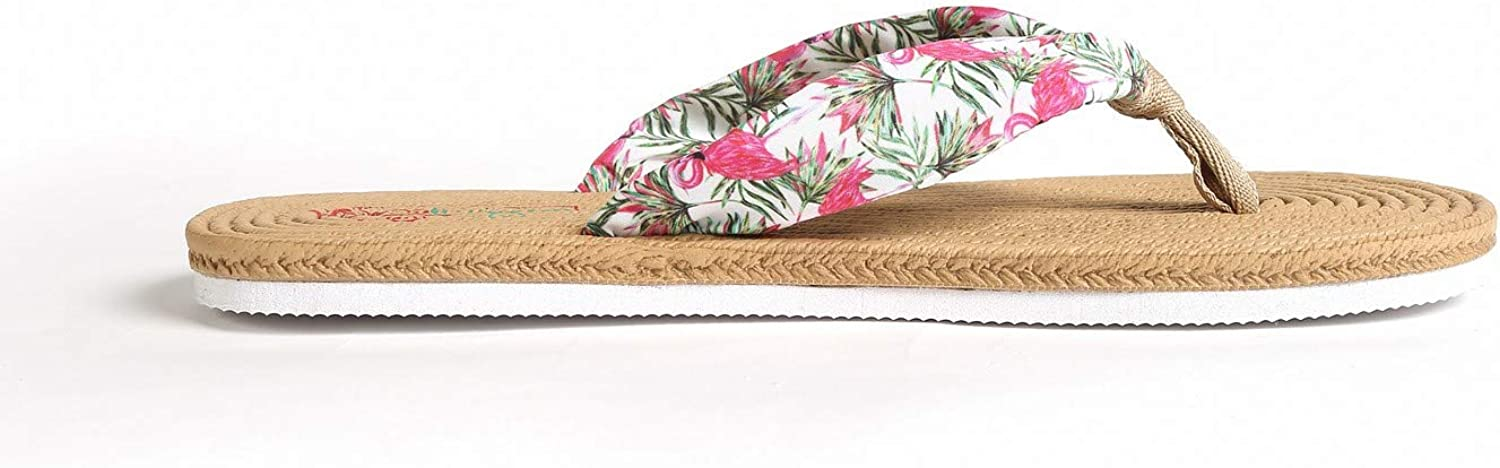 Hawaii Hangover Unisex Flip Flop with Fabric in Flamingo in Love