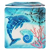 Comfy Hour 12'' Decorative Ocean Coastal Dolphin Sea Snail Conch Coral Marin Compass Square Glass Plate, Dishwasher Safe, Blue
