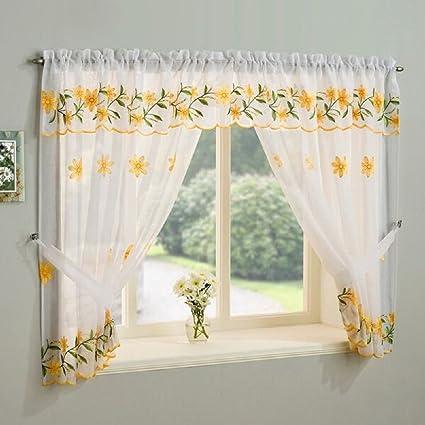 Set di tende per finestra, ricamate con margherite, colore: Giallo ...