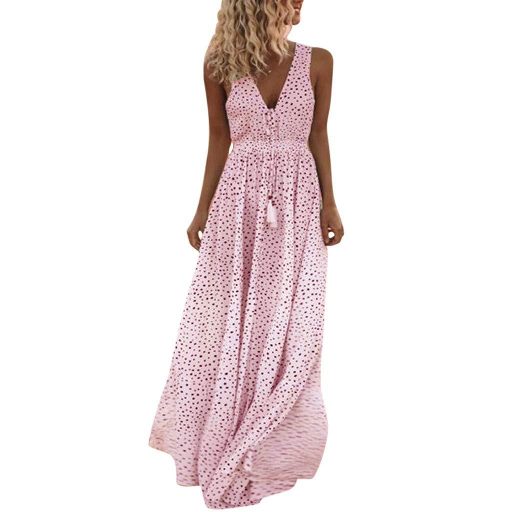 Other-sey Women Dress Summer Sleeveless Dot Print Tassels Deep V Neck Beach Maxi Dresses for Women Casual Summer Pink by Other-sey_Clothing