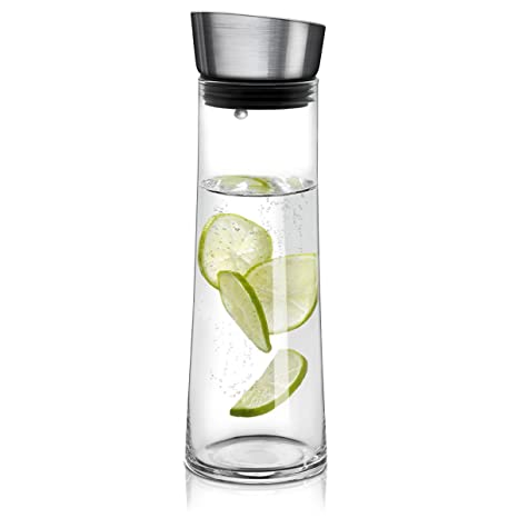 Navaris jarra de cristal de 0.8L para agua - Botella de vidrio con tapa - Jarra de borosilicato garrafa para agua té zumo