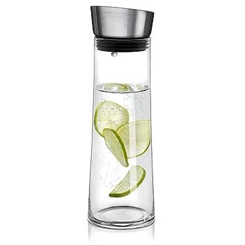 Navaris jarra de cristal de 0.8L para agua - Botella de vidrio con tapa -