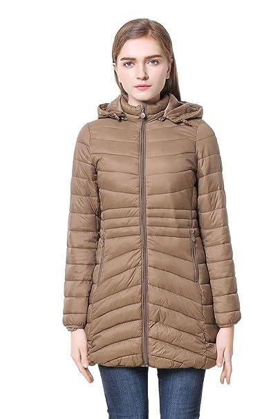 Cicel Chica Mujer Encapuchada abajo chaqueta abrigo de invierno (Large, Khaki)