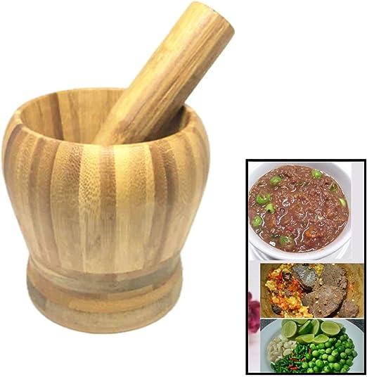 Bamboo Mortar and Pestle Crushing Sesame Seeds Herb Pill Set for Grinding and Crushing Garlic