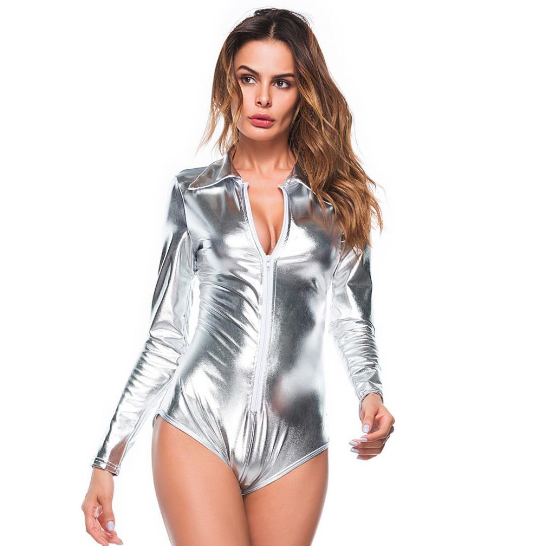 Clearance, YANG-YI Hot Women Lingerie Set V-Neck Clubwear Artificial Leather Siamese Underwear Casual Bodysuit (Silver, 2XL) YANG-YI Lingerie