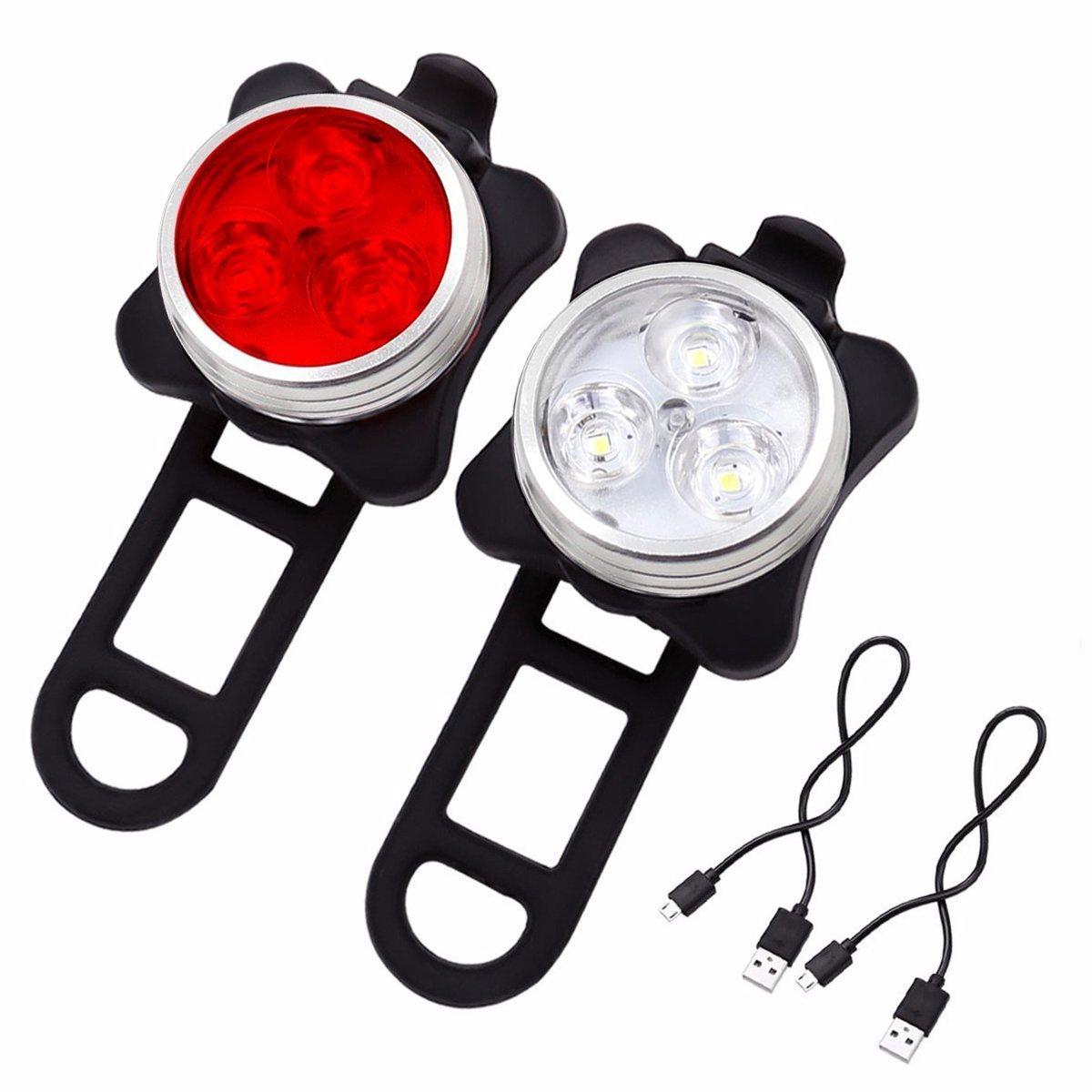 SOKLIT USB Rechargeable Bike Light Front and Rear Waterproof IPX4 Super Bright Bicycle LED Light Set 120 Lumen with 650mah Lithium Battery, 4 Light Mode Options, Including 6 Strap and 2 USB Cables by SOKLIT (Image #9)