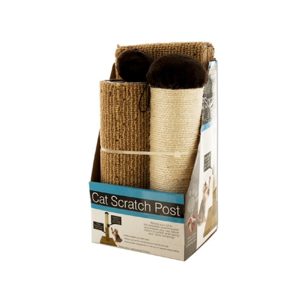 Daily Basic Multi-Textured Cat Scratch Post with Dangling Toy To Play And Sharpen Claws