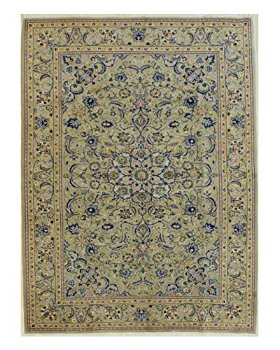 Green Hand-Knotted Wool Traditional Kashan Rug, 7'6 x ()