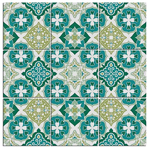 iPrint 9 Pc Wall Art Set Moroccan,Colored Tiled Pattern Geom