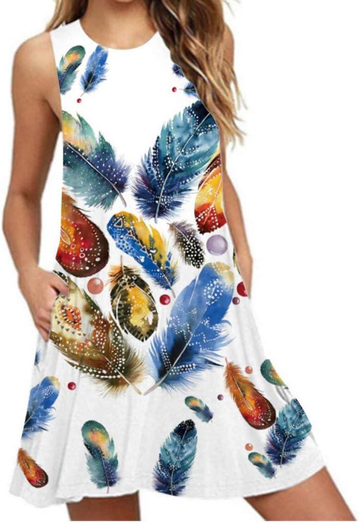 Women Sleeveless Dresses Feather Print O-neck Tank Dress Swing Mini T-shirt Dresses for Girls Daily Beach Vacation
