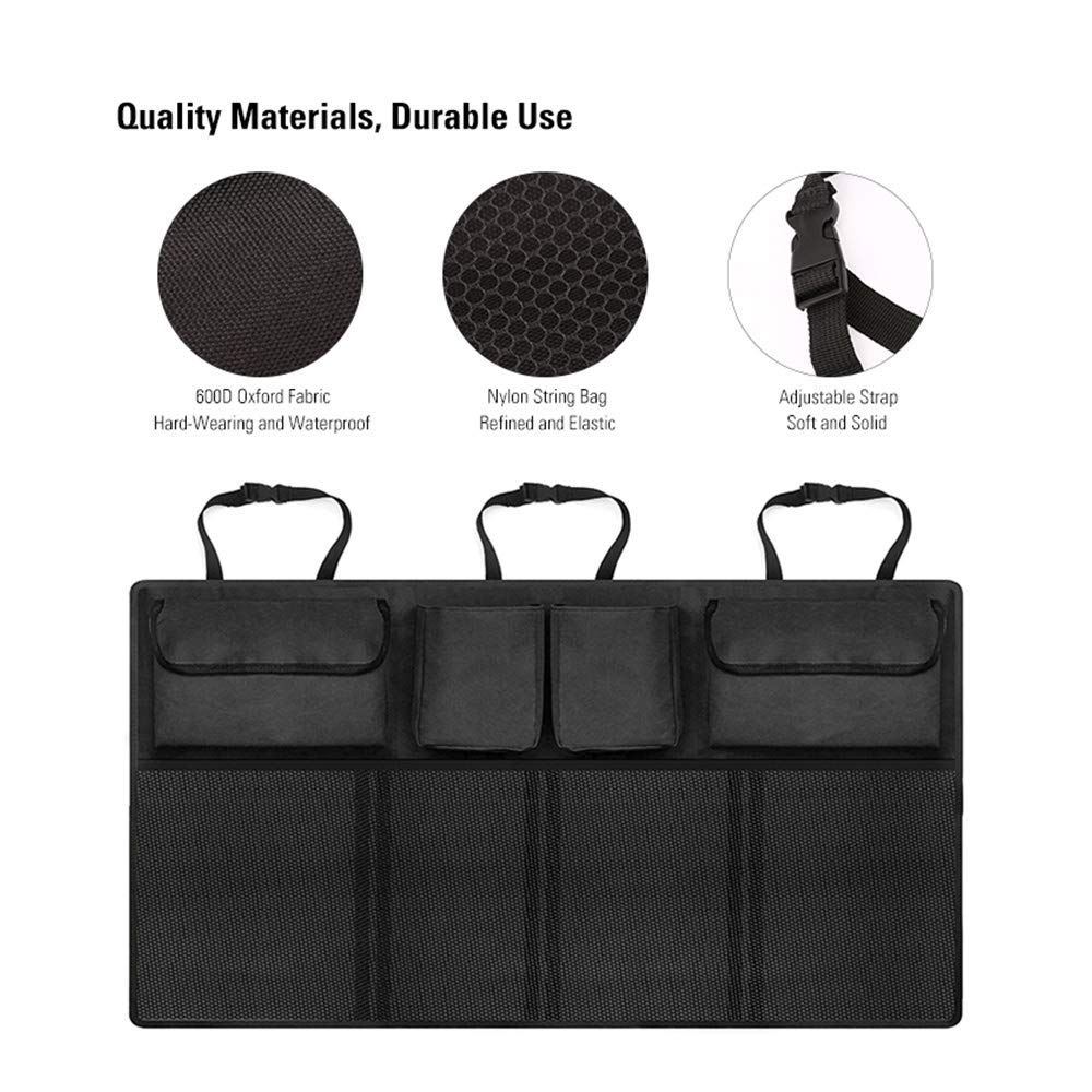 Cargo Interior Accessories with Adjust Straps Auto Black Truck High Capacity Auto Trunk Hanging Storage Bag MoKo Car Backseat Organizer Vehicle 4 Various Pockets and Large Mesh Pockets for SUV