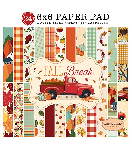 Carta Bella Paper Company CBFA88023 Fall Break 6x6 Pad Paper, Orange, Yellow, Blue, Brown, Tan, Red