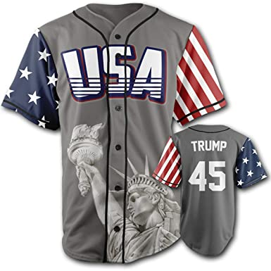 d1f44af5c19 Greater Half Custom Baseball Jersey Button Down USA Grey Trump  45 ...
