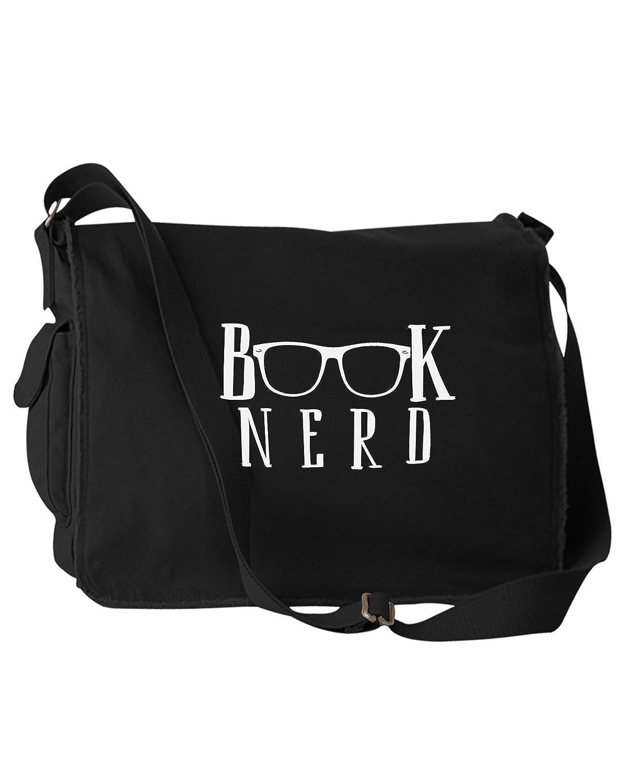 Funny Book Nerd Glasses Black Canvas Messenger Bag