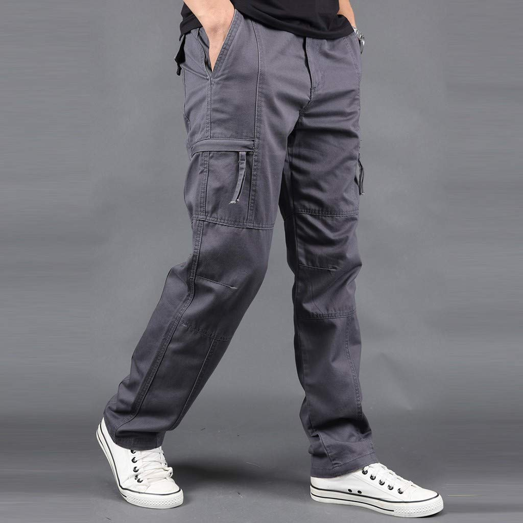 DONTAL Work Trousers Men Summer Outdoor Multi-Pocket Overalls Straight Sports Pants