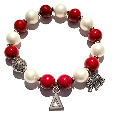 Amazon Com Stonez Delta Sigma Theta Beaded Bracelet Jewelry