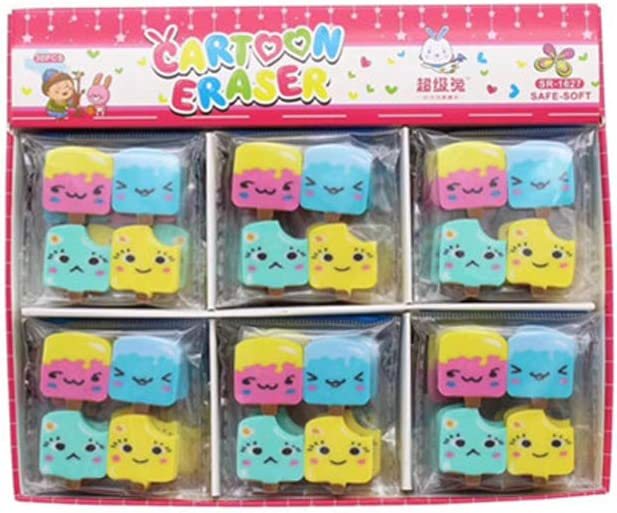 Kawaii Mini Eraser Modify Eraser Lovely Cartoon Creative Ice Cream Pencil Eraser for Office Kids Prize Toys Gift Novelty Toys, 40 Pcs (Ice Cream)