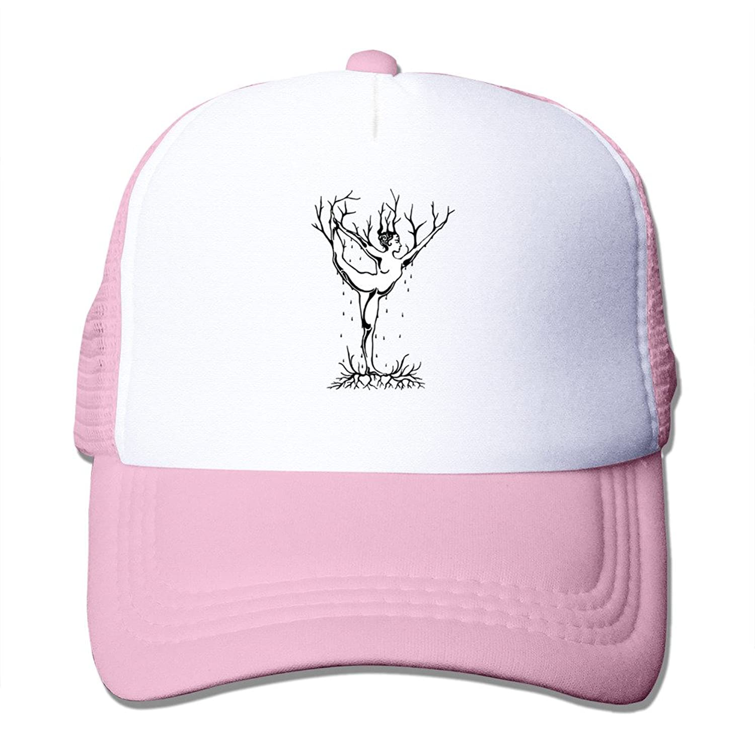 Bro-Custom Yoga Tree Woman Abstract Graphic Sunbonnet Hat Caps One Size Fit All Pink