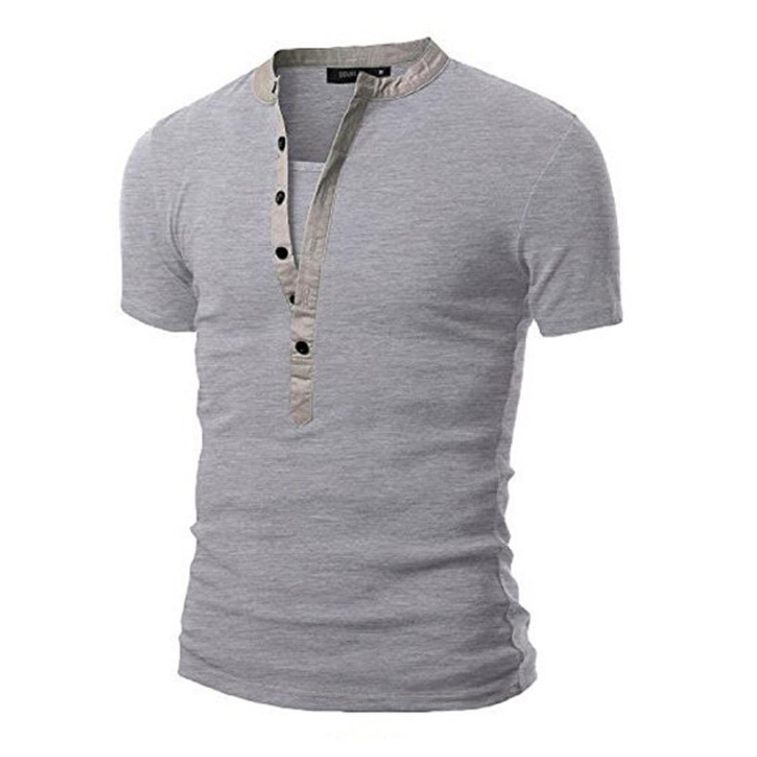 Challyhope Mens Casual Solid Patchwork Button V-Neck Short Sleeve Slim Henley T-Shirt