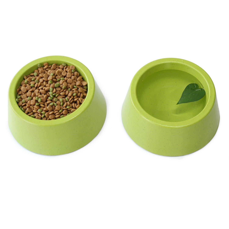 Vivaglory Set of 2 Dog Bowl Cat Feeding Station Pet Bowl, Natural Bamboo Fiber Healthy Feeder with Non Slip Slicone Bottom, Small, Green