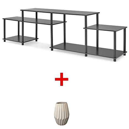 Mainstay No-Tool Assembly 3-Cube Entertainment Center for TVs up to 52 with Vase Black Oak