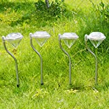 Happy Hours - 4 Pcs Color Changing LED Solar Garden Decor Lights / Stylish Stainless Steel Stake Lanterns For Outdoor Corridor Piazza