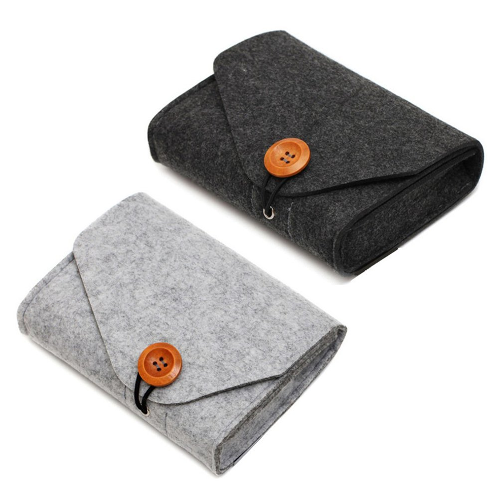 2 Pack Portable Felt Storage Bag Pouch Case Electronics Accessories Organizer for Mouse, Cellphone, Cables, SSD, HDD Enclosure, Power Bank