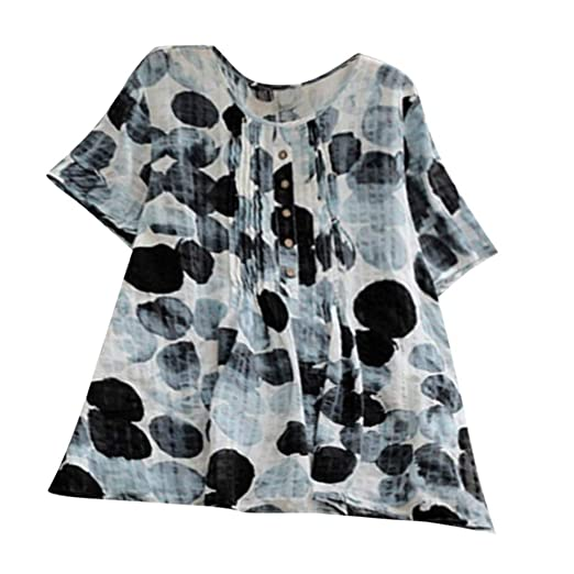 feebbc32fe4 TUSANG Womens Tees Casual Plus Size Loose Linen Sleeve Print Button ...