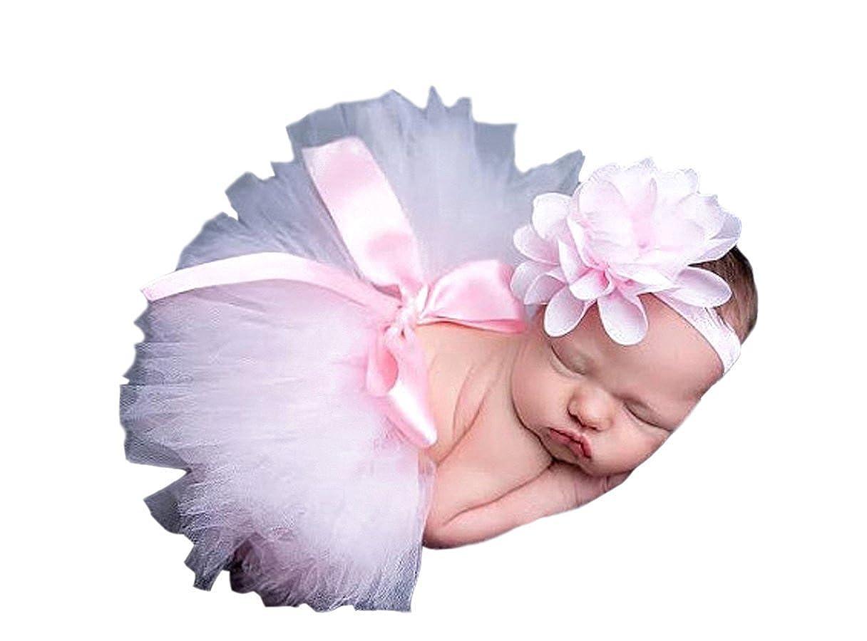 WANGSAURA Photography Prop Newborn Baby Girls Skirt Suit and Elastic Headband Gift Set