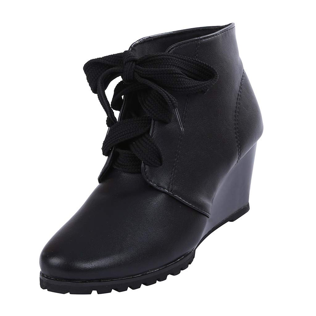 Kiminana Bare Boots Round Head Straps with Wedges Sports Booties Fashion Sneaker Lace Up Wedges Bootie Casual Outdoor Black by Kiminana