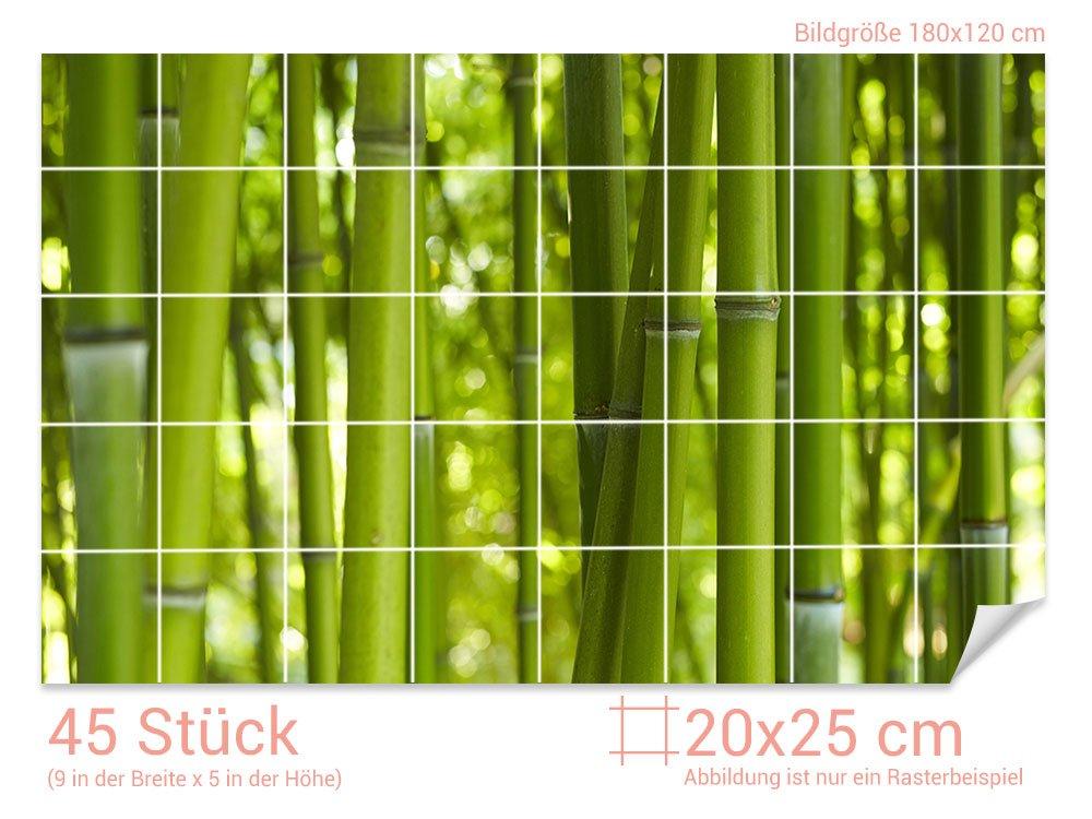 Graz Design 761203_20x25_120 Fliesenaufkleber Bambus-Wald für Kacheln | Bad-Fliesen mit Fliesenbildern überkleben (Fliesenmaß: 20x25cm (BxH)//Bild: 180x120cm (BxH))