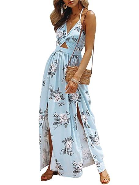 f04dcacea43 Simplee Women s Deep V Neck Backless Maxi Dress Boho Floral Split Long  Beach Dress Light Blue