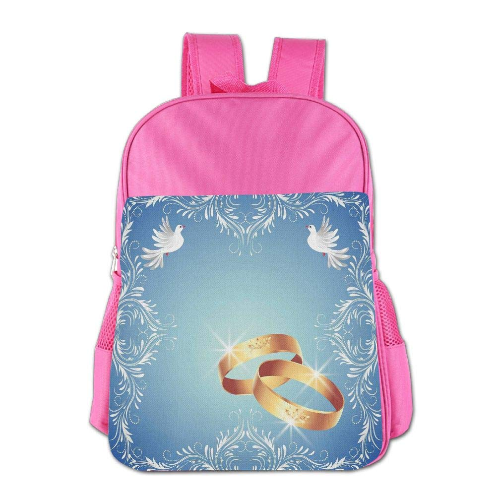 Haixia Youth Boys&Girls School Backpack Wedding Decorations Ornament Frame and Two Flying Doves Heart Shapes Wedding Rings Full Blue White Gold