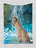 asddcdfdd Tiger Tapestry, Feline Beast in Pond Searching for Prey Sumatra Indonesia Scenes, Wall Hanging for Bedroom Living Room Dorm, 60 W X 80 L Inches, Turquoise Light Brown Black