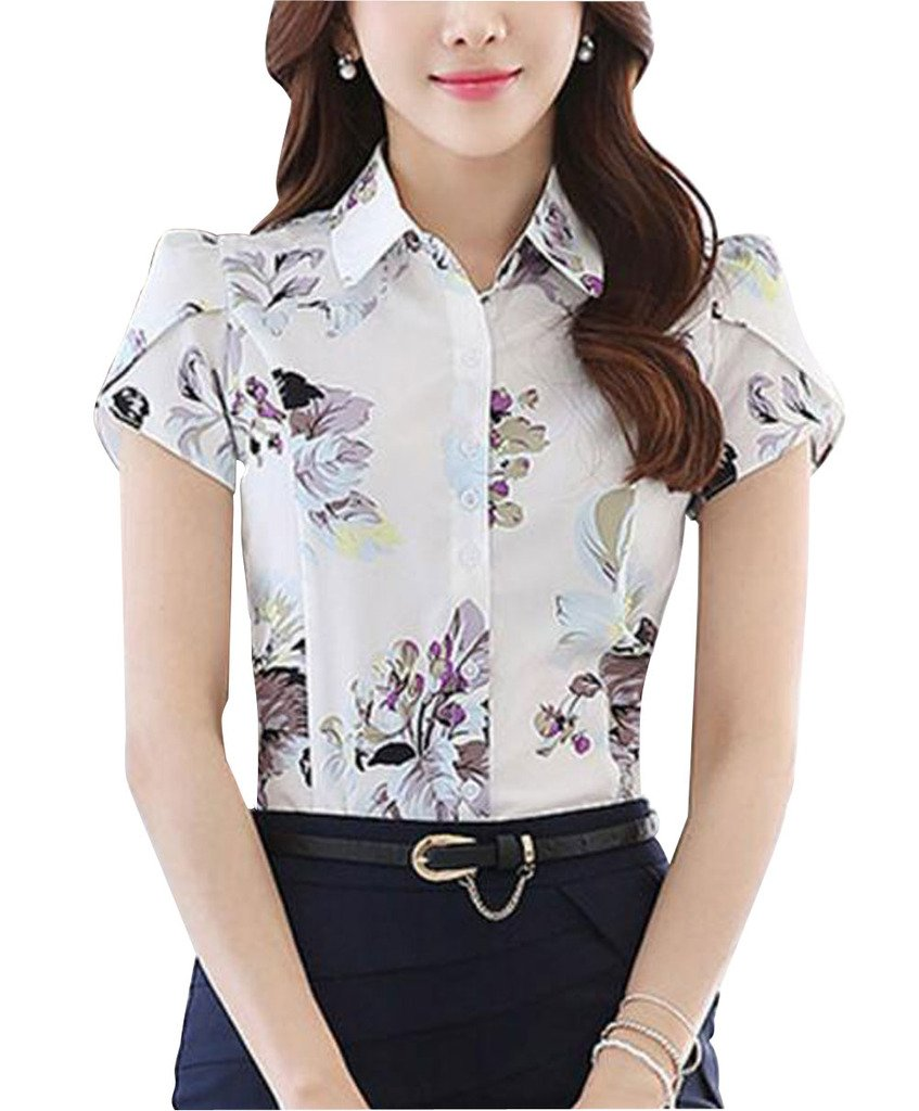 Double Plus Open DPO Women's Chiffon Collared Floral Printed Button Down Shirt Short Sleeve 8 by Double Plus Open