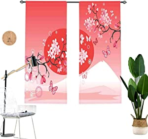 Asian Window Drapes,Japanese Cherry Branches Over The Sun with The Mountain Reflection Fuji Season Asian Blackout Curtains for Sliding Glass Door,2 Panel Set,W42 x L45 Each Panel