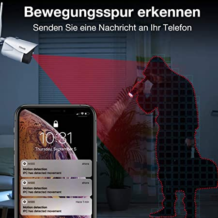Cámara de vigilancia Tenvis – cámara de seguridad exterior e interior Full HD 1080P exterior visión nocturna detección de movimiento IP66 resistente al agua de 2 vías de audio Wi-Fi Wireless Cloud