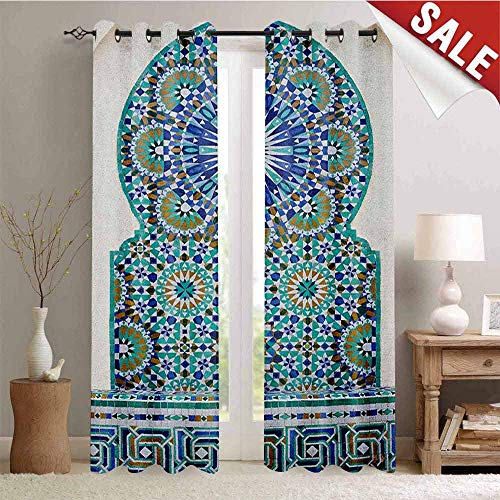 (Moroccan Blackout Draperies for Bedroom Ceramic Tile Antique East Pattern Heritage Architecture Print Thermal Insulating Blackout Curtain W84 x L108 Inch Blue Turquoise Pale Coffee)