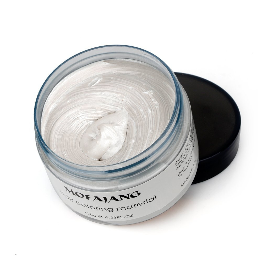 White Instant Hair Color Wax, Qiyuxow Temporary Hair Dye Creme Coloring Material, Quick Dry Easy Wash for Daily use Festivals Parties Stag & Hen Events Clubbing Raves Halloween & Fancy dress