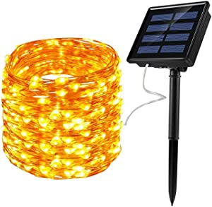REICUA, Solar Garden Lights, Outdoor String Lights, 72ft 22m 200 LED 8 Twinkling Modes, Decorative Lighting Copper Wire Fairy Lights for Home, Gazebo, Patio, Lawn, Wedding Ornament (Warm White)