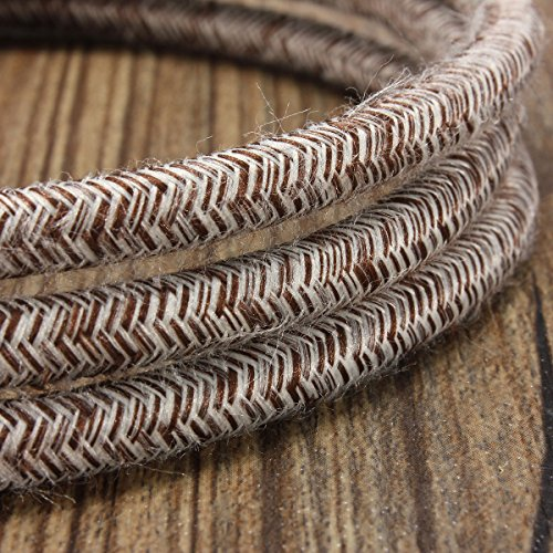 - 32.8ft Round 18/2 Rayon Covered Wire,HESSION Antique Industrial Electrical Cloth Cord,Vintage Style Lamp Cord strands UL listed(White and Brown)
