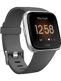 Fitbit Versa Lite Smartwatch, Charcoal/silver Aluminum, One Size, 0.09 Pound