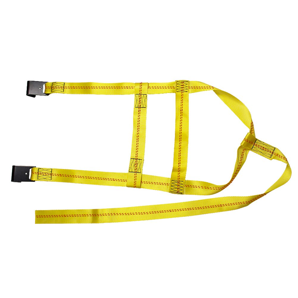 Bang4buck 2 Pieces Universal Adjustable Bonnet Tie Down System Wheel Straps for Demco Kar Kaddy Dollys with 2 Flat Hooks (Yellow-Rachet Strap) by Bang4buck (Image #4)