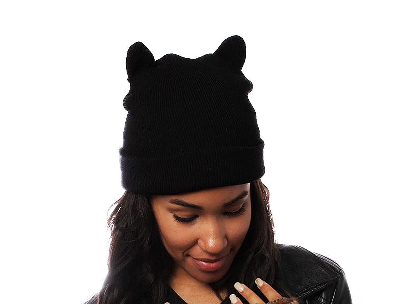 dc1ac7a0daa Ladies Black Beanie Hat with Cool Cat Ears Design  Amazon.co.uk  Clothing